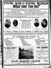 Advertisement for the State Business College, dated September 5, 1911.