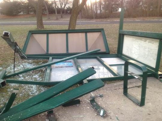 This bus shelter on Route 9 just off Edinburgh Drive in Freehold Township was destroyed in a November 2012 accident, and it has yet to be replaced.