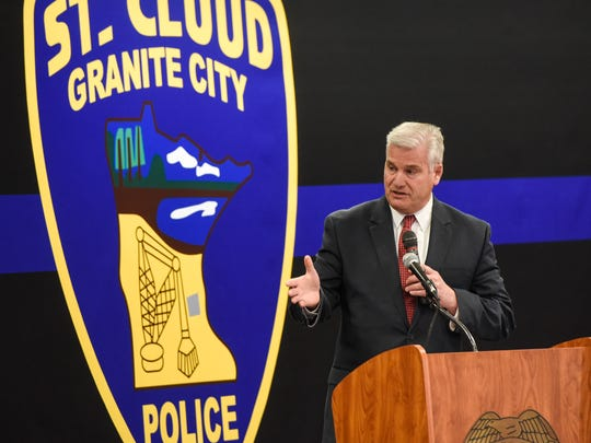 U.S. Rep. Tom Emmer speaks during a ceremony to present officer Jason Falconer with the Congressional Badge of Bravery Award Thursday, April 5, at the St. Cloud Police Department.
