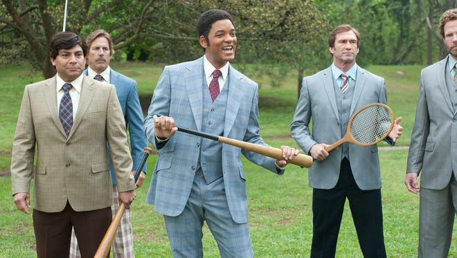Will Smith (center) makes a cameo in 'Anchorman 2.'