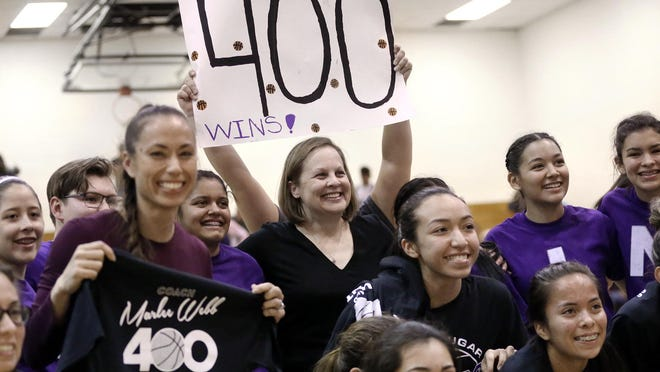 Marlee Webb celebrates her 400th career win this past season with El Paso Franklin. Webb, an El Paso native, will take over Vandegrift's girls basketball program this upcoming school year.