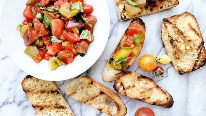 Tiny tomato bruschetta.