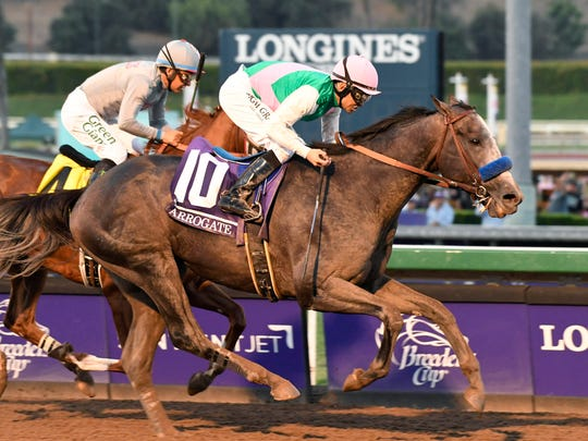 Arrogate, ridden by Mike Smith, wins last year's Breeders' Cup Classic at Santa Anita.