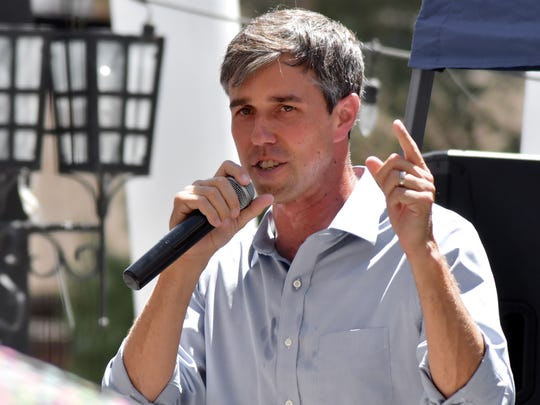U.S. Rep. Beto O'Rourke speaks at an early afternoon campaign rally in the courtyard patio of a Texas Street restaurant in August.