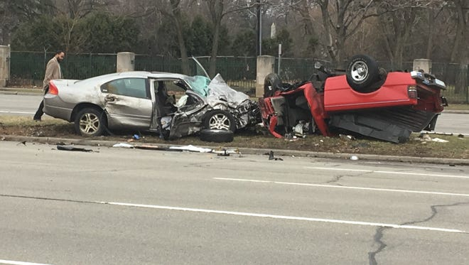 Traffic accident on Woodward in Detroit.