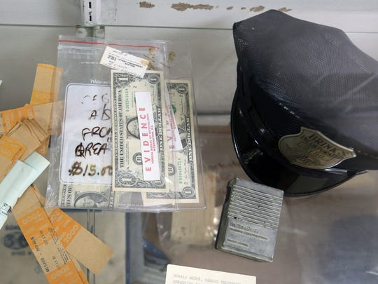 Evidence from Brinks robbery on display at the Sheriff's Department in New City Jan. 6, 2017.
