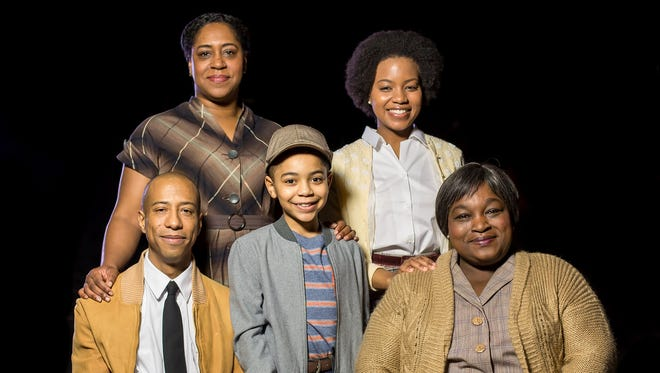 """The primary cast of Cincinnati Shakespeare Company's production of Lorraine Hansberry's """"A Raisin in the Sun"""" includes, (standing, from left) Torie Wiggins and Renika Williams and (seated, from left) Geoffrey Warren Barnes,  Shadow Avili' and, as Lena Younger, Burgess Byrd."""