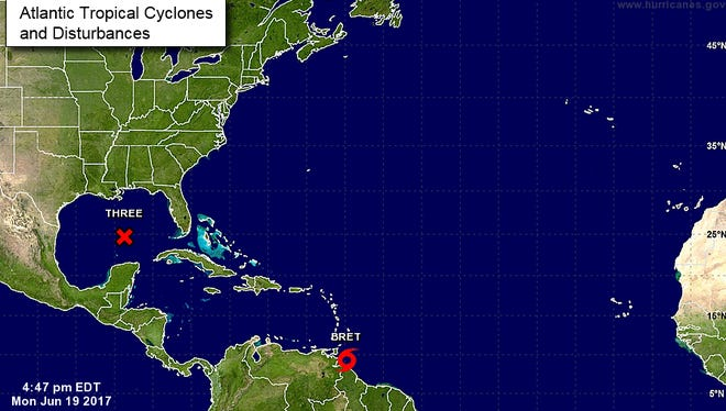 Tropical Storm Bret forms near South America