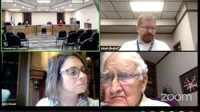 A screenshot of the Ardmore City Commission Meeting that was held via webinar Monday evening. Clockwise from top left: commission chambers, Information Technology Director Rob Newell, Commissioner Martin Dyer, Commissioner Beth Windel.