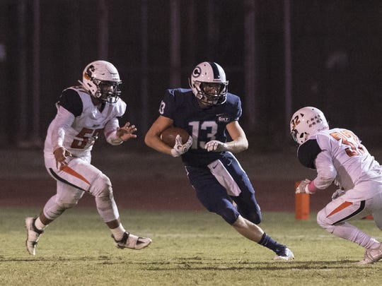 Central Valley Christian's Dustin Van grouw runs against Selma in a Central Sequoia League high school football game on Friday, October 6, 2017.