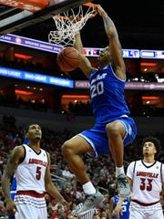 Seton Hall Pirates forward Desi Rodriguez (20) dunks