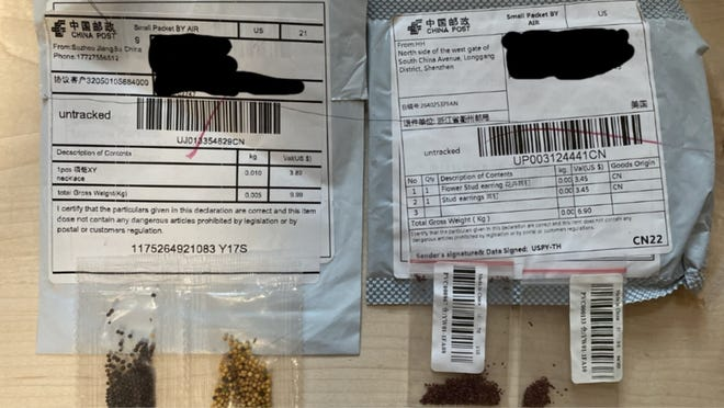Packages in which seeds were mailed from China.