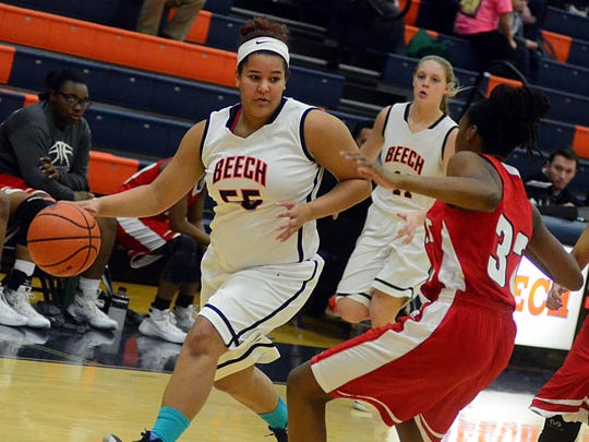 Beech High freshman center Destiny Tinker dribbles