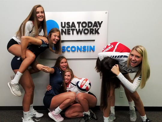 Outtake from Sensational 6 girls volleyball photo shoot