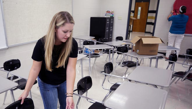 English teachers Amber Wright, left, and Jessica Jennings, right, set up the classroom they will share this coming school year at Mt. Juliet High School on Monday, July 31, 2017.