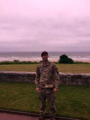 Sgt. 1st. Class Christopher Lehr at Omaha Beach in