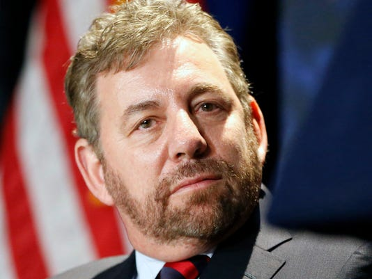 """FILE - In this Jan. 6, 2016, file photo, James Dolan is shown during a press conference in New York. New York Liberty owner James Dolan says he's looking to sell the team, one of the original eight WNBA franchises. Dolan has owned the team that plays at Madison Square Garden for 21 years. He says in a statement Tuesday, Nov. 14, 2017, he's """"proud of how far the league has come, and the role we have played in its growth."""" He calls this a """"difficult decision"""" but is confident of """"an even more successful future."""" (AP Photo/Kathy Willens, File)"""