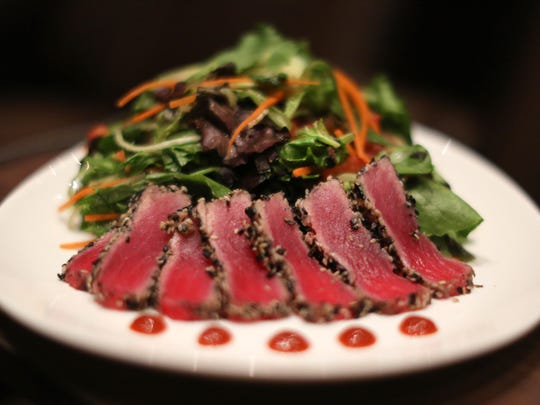 Sesame seared tuna is available at the CineBistro in the Cobb Liberty Luxury 15. Food is served at your chair prior to the start of the movie. The complex, the first of its kind in Ohio, opens this week at Liberty Center in Liberty Township.