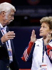 Bela Karolyi, left, and his wife, Martha   Karolyi.