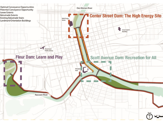 Graphic showing opportunities for water recreation at each of the downtown Des Moines dams.
