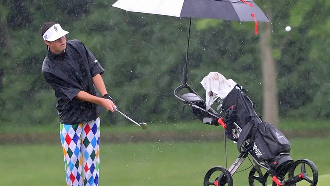 Harrison junior Cole Bradley sinks a 60-foot chip shot in the pouring rain on the sixth hole of Coyote Crossing Saturday.