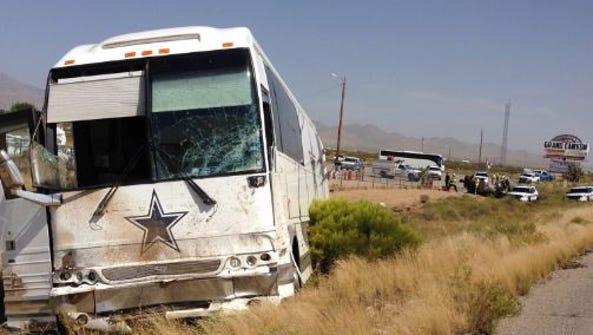 A scene from the site of a crash involving a Dallas