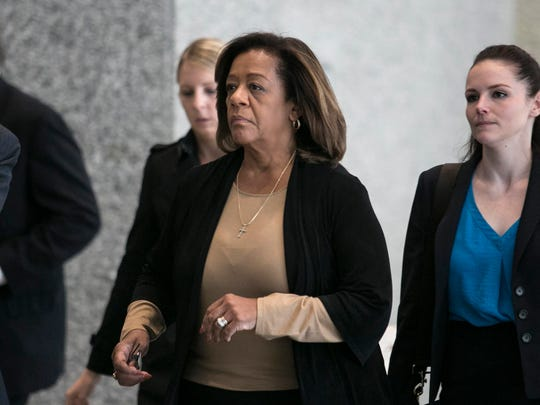 Former Chicago Public Schools CEO Barbara Byrd-Bennett exits federal court Tuesday, Oct. 13, 2015, in Chicago.