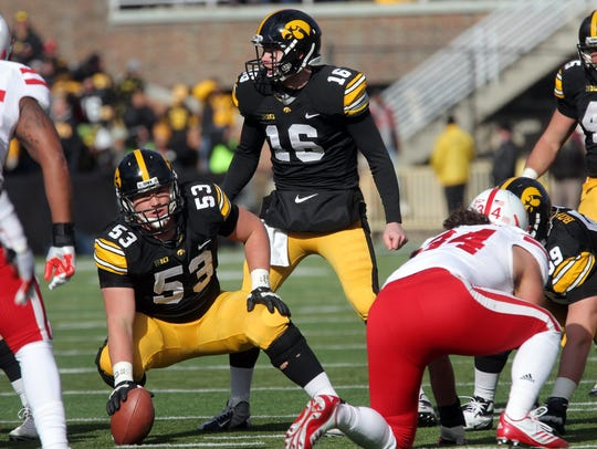 Former Iowa center James Ferentz waits for a call from