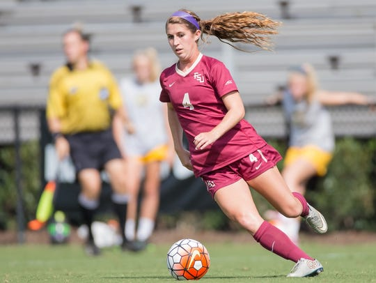 Florida State midfielder Holly Fritz, a Mariner alum,