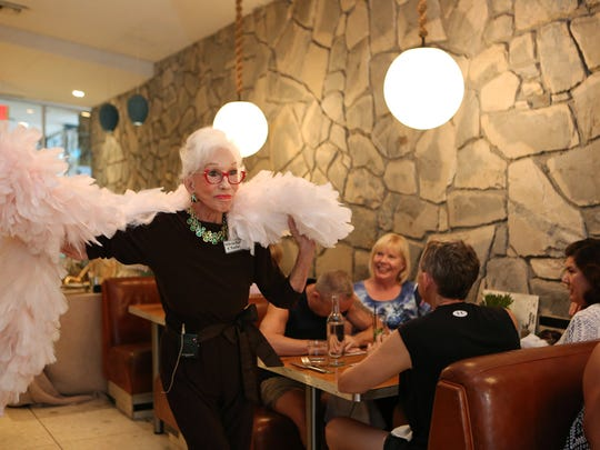 """Shirley Claire, 88, is a bingo caller who also sings during bingo night at King's Highway Diner at Ace Hotel and Swim Club in Palm Springs. Claire is a former Palm Springs Follies and appeared on """"America's Got Talent"""" last year."""