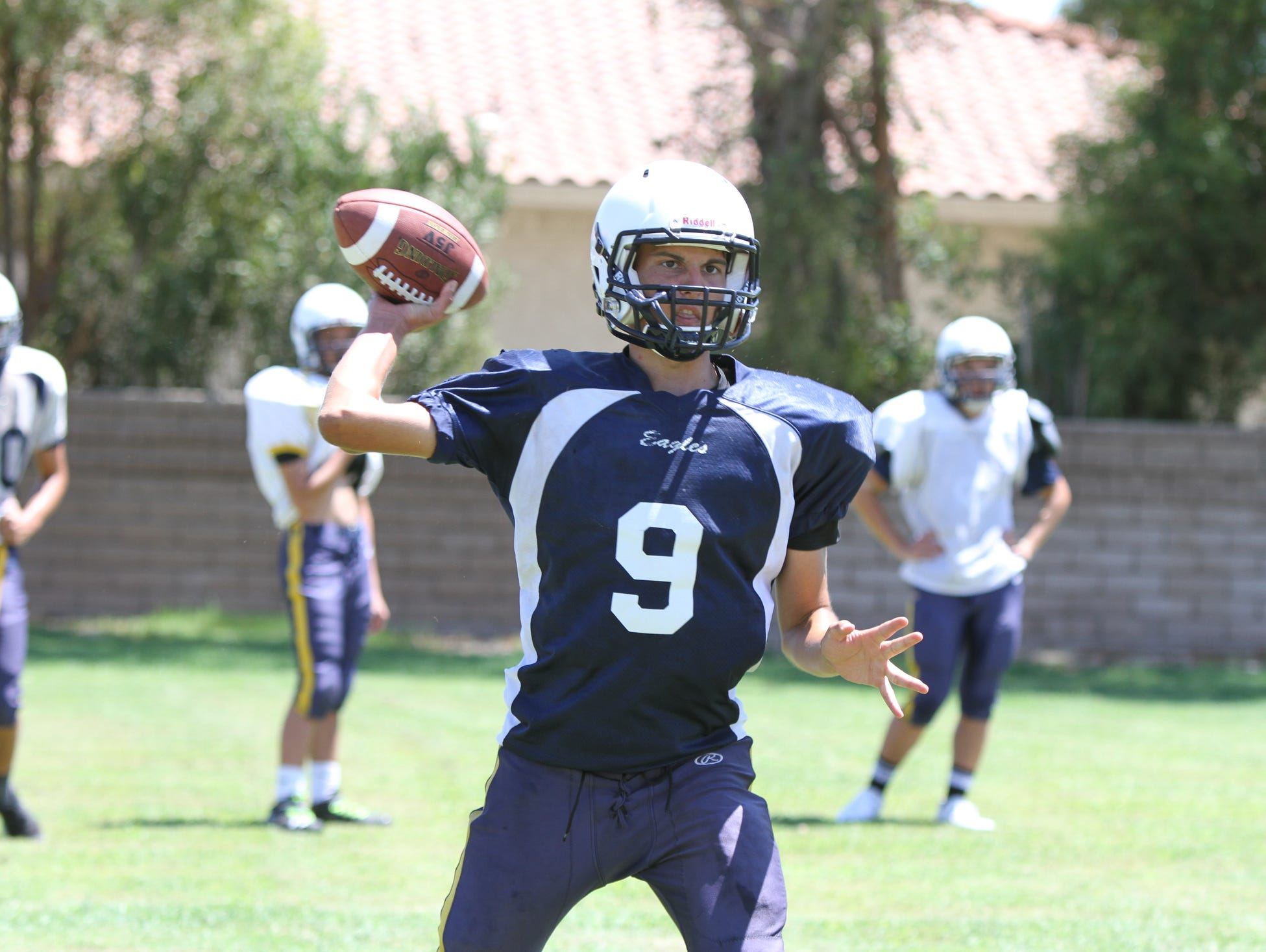 Desert Chapel's Joey Spoelder throws the ball during practice at the school in Palm Springs on Wednesday, August 17, 2016.