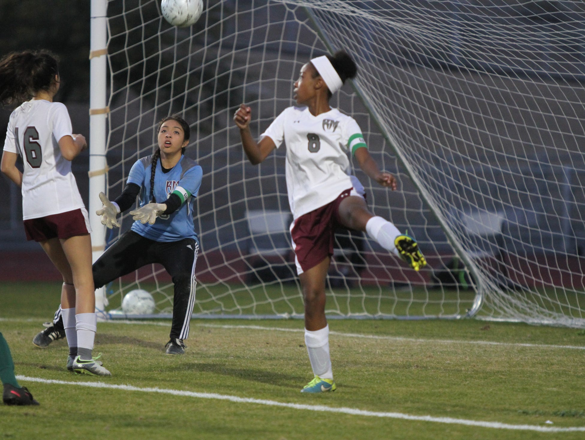 Rancho Mirage's goalkeeper Jasmin Sterling eyes the ball during the game against Coachella Valley in Rancho Mirage on Thursday, January 19, 2017. Rancho Mirage won.
