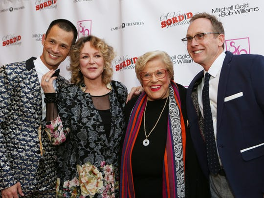 "Producer Emerson Collins, left, cast member Bonnie Bedelia, Kaye Ballard and writer/director Del Shores arrive on the red carpet for the premiere of ""A Very Sordid Wedding"" in 2017 at the Camelot Theatres. Ballard's documentary will screen there Sunday."