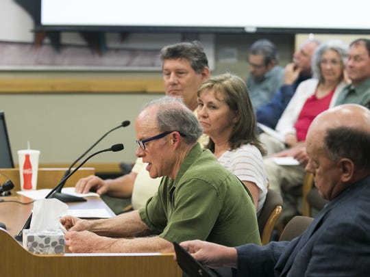 Landlord Bob Havard testifies in opposition to House Bill 2004 at a hearing concerning the housing crisis, rent control and evictions on Wednesday, April 3, 2017, at the Oregon State Capitol. The proposed bill would bar no cause evictions and lift a statewide ban on rent control.