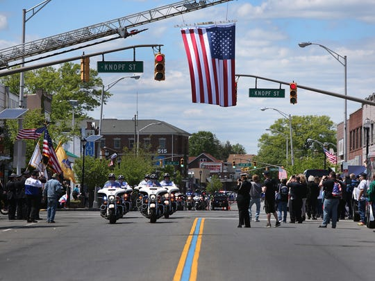 In Linden, Police Unity Tour participants stopped to honor the four Linden police officers, Angel Padilla, Peter Hammer, David Guzman and Mark Kahana who confronted and captured alleged terrorist Ahmad Khan Rahimi on Sept. 19, 2016.