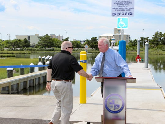Ocean City Mayor Richard Meehan welcomes Maryland Gov.