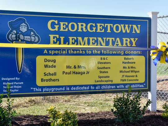 The new playground at Georgetown Elementary School was formally dedicated with a ribbon-cutting ceremony on Friday, September 8, 2017. Georgetown Elementary is located at 301-A West Market Street in Georgetown.