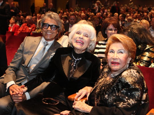 """Carol Channing, center, attends """"Carol Channing's 95th Birthday! In Celebration of A Broadway Legend"""" in Palm Desert in 2016. She is flanked by Tommy Tune, left, and Bea Levy."""