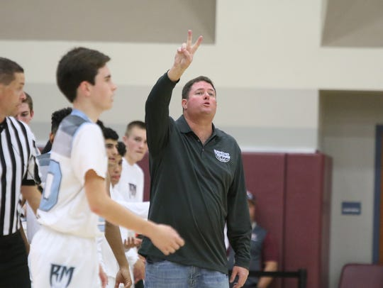 Rancho Mirage head coach Rob Hanmer during the game