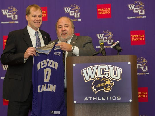 Western Carolina Director of Athletics Randy Eaton with head men's basketball coach Mark Prosser, who was introduced Tuesday afternoon in Cullowhee.