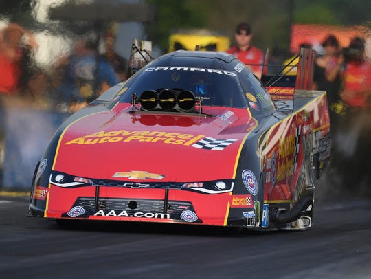 In this photo provided by the NHRA, Courtney Force