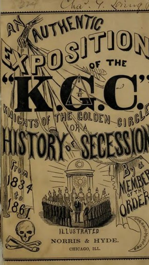 Cover of a booklet issued during the Civil War detailing some of the inner workings of the secretive pro-secession Knights of the Golden Circle.