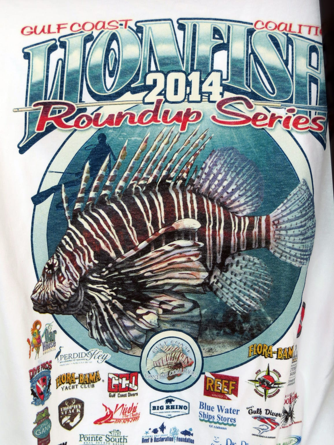 T-shirt advertising the Gulf Coast Lionfish Coalition
