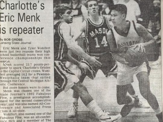 Eric Menk starred at Charlotte High School in 1991.