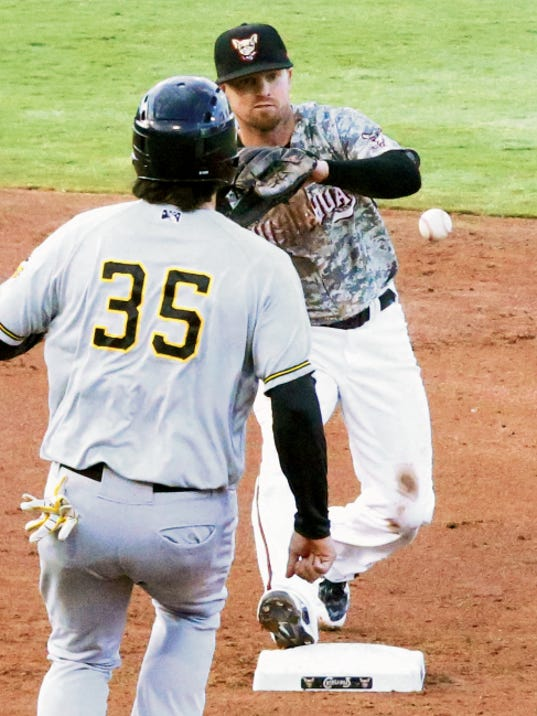 Rudy Gutierrez—El Paso Times El Paso Chihuahuas second baseman Mike McCoy catches a toss to force Ryan Wheeler, 35, of the Salt Lake Bees out at second base Monday night at Southwest University Park.