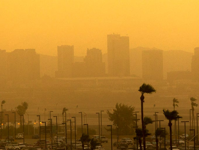A dust storm hits Phoenix, AZ on July 25, 2014.