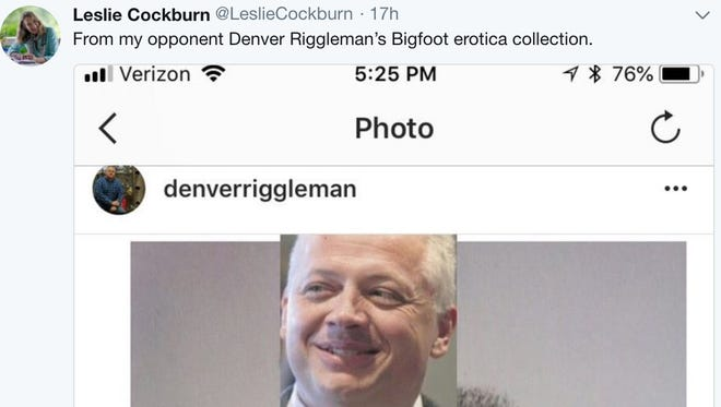 Virginia Democrat Leslie Cockburn tweeted about her GOP opponent, Denver Riggleman.