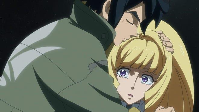 """Mikazuki surprises Kudelia by gettin' huggy wit' it in """"Gundam Iron-Blooded Orphans Episode 18: Voice."""""""