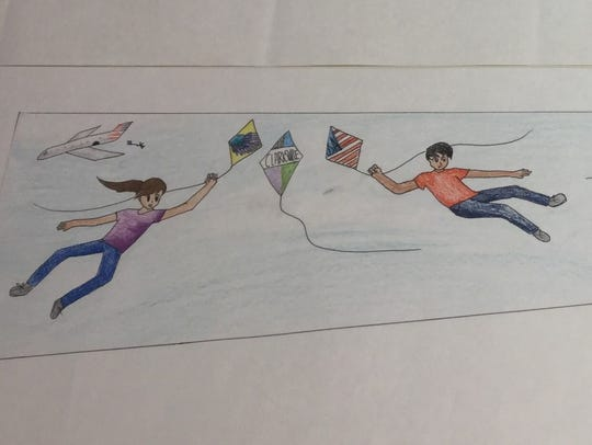 The kites mural was designed by students at Clarksville