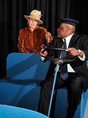 "Besides writing, Irene Morse has appeared in countless Visalia Player productions, including pictured here in ""Driving Miss Daisy"" with Clarence Cryer"